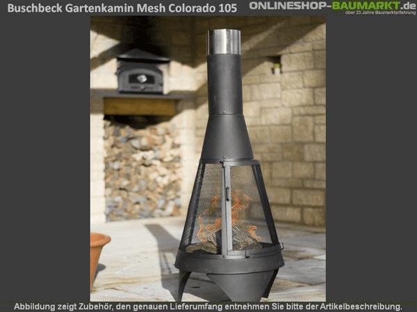 Buschbeck Gartenkamin Mesh Colorado 125 cm silber-schwarz