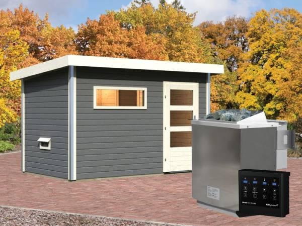 Karibu Aktionssaunahaus Erik 1 38 mm mit 9 kW BIO-Ofen ext. Strg. terragrau