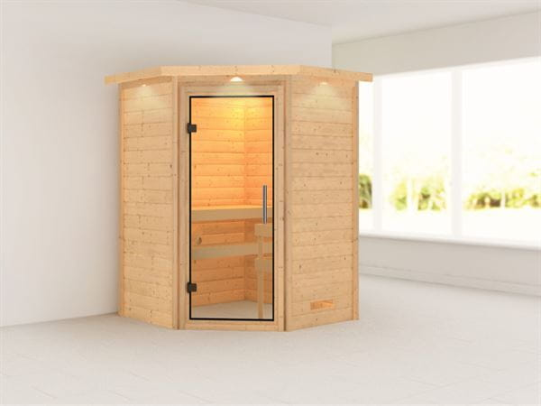 Alicja - Karibu Sauna Plug & Play ohne Ofen - mit Dachkranz - Klarglas Ganzglastür