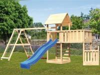 Akubi Spielturm Lotti + Schiffsanbau unten + Anbauplattform XL + Doppelschaukel mit Klettergerüst + Kletterwand + Rutsche blau