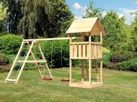 Akubi Spielturm Lotti mit Doppelschaukel inkl. Klettergerüst