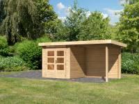 Karibu Woodfeeling Gartenhaus Kandern 1 natur mit Anbaudach 2,35 m inkl. Rückwand