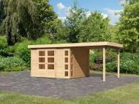 Karibu Woodfeeling Gartenhaus Kerko 5 natur mit Anbaudach 2,40 m