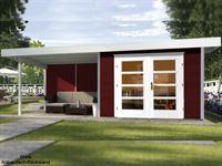 Weka Gartenhaus 126 Plus Gr. 1 schwedenrot mit Anbaudach 300 cm