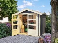 Karibu Gartenhaus Harburg 3 in terragrau mit moderner Tür