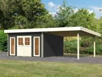 Karibu Gartenhaus Tecklenburg 2 terragrau mit 3 m Anbaudach