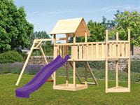 Akubi Spielturm Lotti Satteldach + Schiffsanbau oben + Einzelschaukel + Anbauplattform XL + Netzrampe + Rutsche in violett