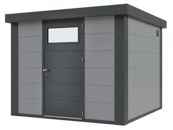 Wolff Finnhaus Metall-Gerätehaus Eleganto 2121 Lichtgrau inkl. Dachrinne und Fallrohr
