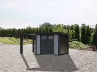Wolff Finnhaus Metallhaus Eleganto 3024 lichtgrau inkl. 170 cm Seitendach links, Dachrinne und Fallrohr