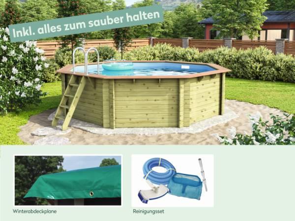 Wolff Finnhaus Pool Modell B inkl. Abdeckplane und Reinigungsset