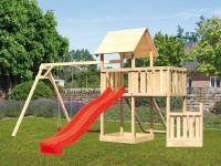 Akubi Spielturm Lotti + Schiffsanbau unten + Anbauplattform + Doppelschaukel + Netzrampe + Rutsche rot