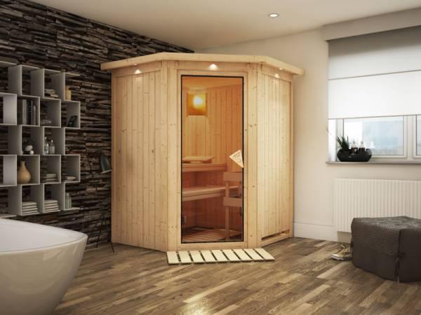 Larin - Karibu Sauna ohne Ofen - mit Dachkranz -