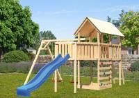 Akubi Spielturm Danny Satteldach + Rutsche blau + Doppelschaukel + Anbauplattform XL + Kletterwand