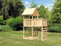 Akubi Spielturm Lotti natur mit Anbauplattform und Kletterwand