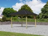 Karibu Aktions 4-Eck Pavillon Parzello KDI inkl. H-Pfostenanker und Schindeln