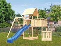 Akubi Spielturm Lotti + Schiffsanbau unten + Anbauplattform + Einzelschaukel + Rutsche blau