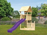 Akubi Spielturm Lotti Satteldach + Rutsche violett + Schiffsanbau unten