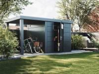 Wolff Finnhaus Metallhaus Eleganto 2424 mit 170 cm Seitendach links, granitgrau inkl. Dachrinne, Fallrohr