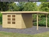 Karibu Woodfeeling Gartenhaus Askola 6 mit Anbaudach 2,25 Meter