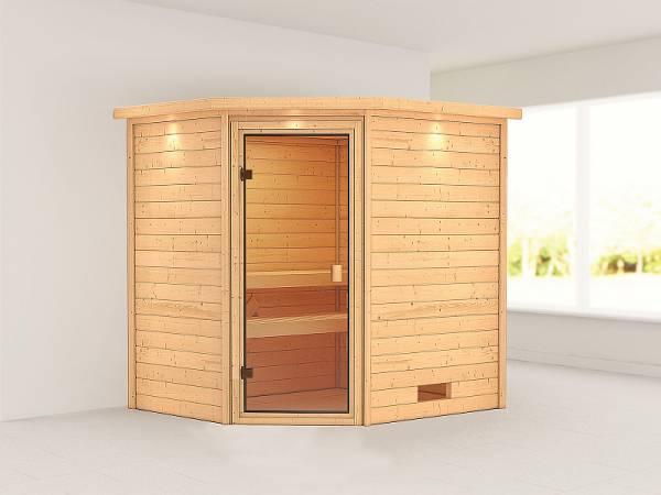Karibu Woodfeeling Sauna Elea mit Dachkranz 38 mm