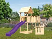 Akubi Spielturm Lotti + Schiffsanbau unten + Anbauplattform + Netzrampe + Rutsche in violett