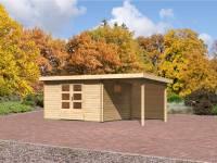 Karibu Gartenhaus Rastede 4 inkl. Anbaudach 2,2 m mit Rückwand