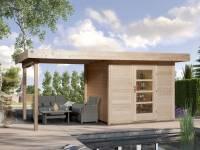 Weka Gartenhaus 172 Größe 1 natur mit Anbaudach 300 cm