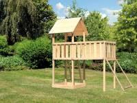 Akubi Spielturm Lotti natur mit Anbauplattform XL und Netzrampe