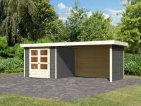 Karibu Woodfeeling Gartenhaus Askola 3,5 mit Anbaudach 2,8 Meter, Seiten- und Rückwand in terragrau