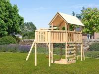 Akubi Spielturm Danny Satteldach + Einzelschaukel + Anbauplattform XL + Kletterwand