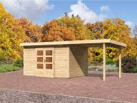 Karibu Aktions Gartenhaus Emden 7 mit Anbaudach 2,60 Meter