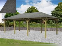 Karibu 4-Eck Aktions Pavillon Arcazia 2 inkl. H-Pfostenanker und Schindeln
