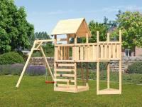 Akubi Spielturm Lotti Satteldach + Schiffsanbau oben + Anbauplattform + Einzelschaukel + Kletterwand