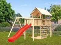 Akubi Spielturm Danny Satteldach + Rutsche rot + Doppelschaukel + Anbauplattform + Kletterwand