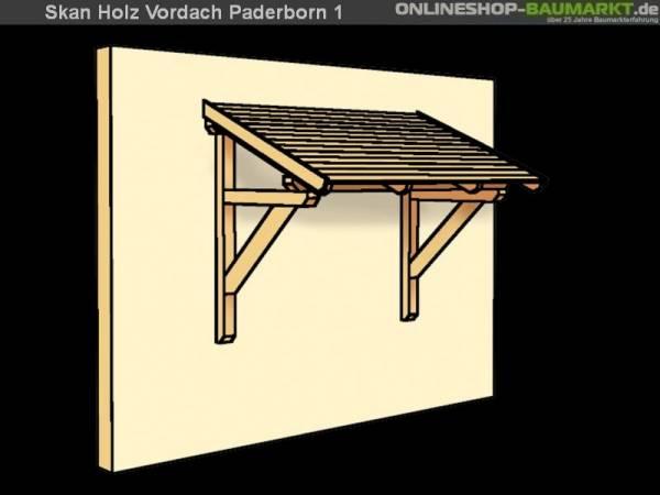 Skan Holz Vordach Paderborn 1 unbehandelt, 242 x 156 cm für Einzeltür