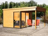 Wolff Finnhaus Pultdachhaus Studio 44-B mit Lounge Alu-Anthrazit naturbelassen