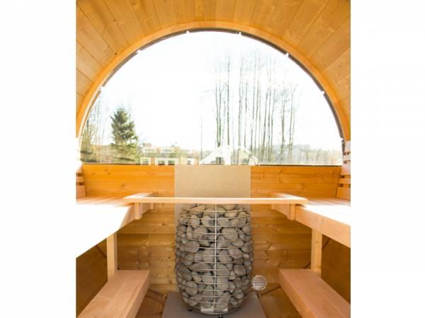 Wolff Finnhaus Halbrundglas für Saunafass Rückseite 205 cm