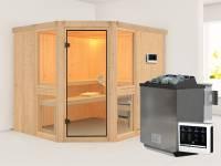 Amelia 3 - Karibu Sauna inkl. 9-kW-Bioofen - ohne Dachkranz -
