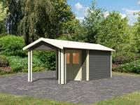 Karibu Gartenhaus Espelo 4 in terragrau mit einem Dachausbauelement 2,70 m