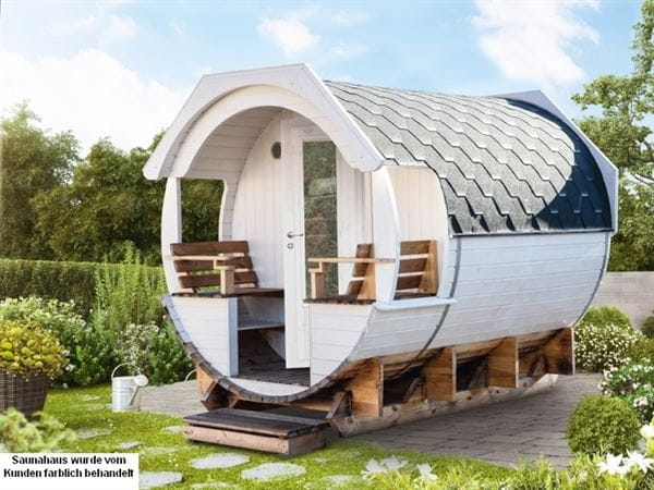 Wolff Finnhaus Thermoholz Saunafass Finja 2 Premium komplett montiert mit schwarzen Dachschindeln