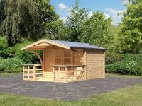 Karibu Gartenhaus Bayreuth 3 inkl. Vordach und Terrasse