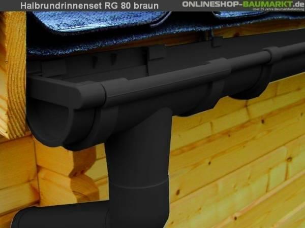 Dachrinnen Set RG 80 braun 350 cm zweiseitig
