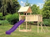 Akubi Spielturm Lotti natur mit Anbauplattform XL, Netzrampe und Rutsche violett
