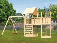 Akubi Spielturm Lotti Satteldach + Schiffsanbau oben + Anbauplattform + Doppelschaukel + Kletterwand