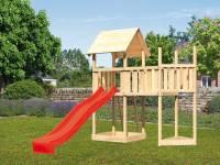 Akubi Spielturm Lotti Satteldach + Rutsche rot + Anbauplattform + Schiffsanbau oben