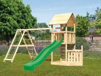 Akubi Spielturm Lotti + Schiffsanbau unten + Kletterwand + Doppelschaukel mit Klettergerüst + Rutsche in grün