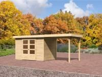 Karibu Aktions Gartenhaus Jever 4 mit Anbaudach 2,40 Meter und Fußboden