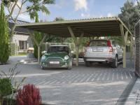 Weka Y-Carport Duo mit Stahl-Dacheindeckung