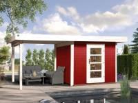 Weka Gartenhaus 172 Größe 2 in schwedenrot mit Anbaudach 300 cm