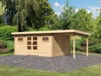 Karibu Gartenhaus Bastrup 10 inkl. Fußboden und Anbaudach 2 m